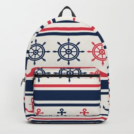 Blue Pink Sea Navy Pattern Backpack
