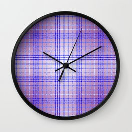 Thin Blue and Purple Speckled Tartan Pattern Wall Clock