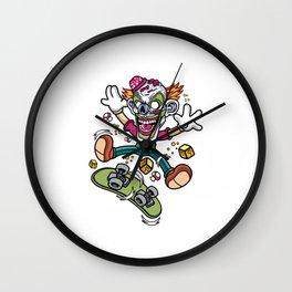 Comic - Clown Skater Skull - bright Wall Clock