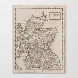 Vintage Map of Scotland (1681) Canvas Print