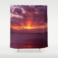 valentina Shower Curtains featuring Let the new day lift your spirits to the sky by Donuts