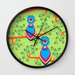 Tropical birds on trees Wall Clock