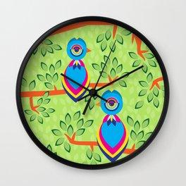 Tropical birds on trees Wall Clock