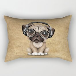 Cute Pug Puppy Dj Wearing Headphones and Glasses Rectangular Pillow