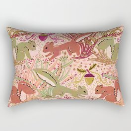 Squirrel in Woodland Fern Forest , Cute Squirrels Love hidden among the Acorn Nuts & Plants Rectangular Pillow
