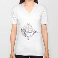 the whale V-neck T-shirts featuring whale by Ana Grigolia