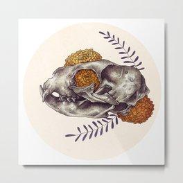 Inktober Cat Skull Metal Print