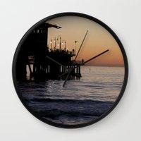santa monica Wall Clocks featuring Santa Monica Beach Life by Amy J Smith Photography