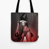 punisher Tote Bags featuring Lady Punisher by Matthew Bartlett