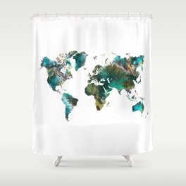 Map of the World tree #map #world Shower Curtain