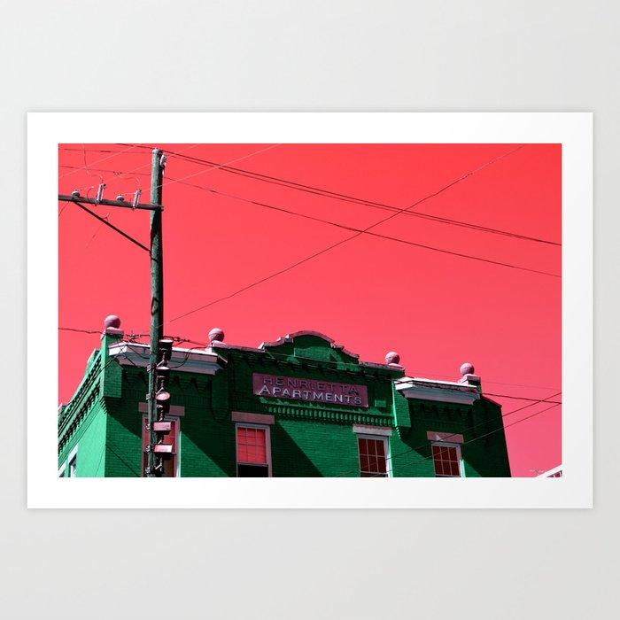 Henrietta apartments art print - architecture building - downtown Savannah,  Georgia Art Print