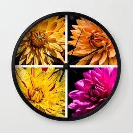 Dahlia Collage Wall Clock