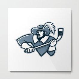 Musketeer Ice Hockey Mascot Metal Print