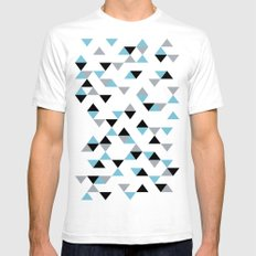 Triangles Ice Blue White SMALL Mens Fitted Tee