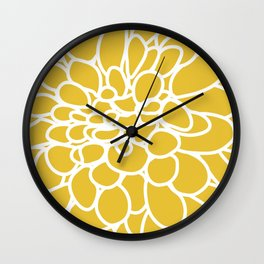 Mustard Yellow Modern Dahlia Flower Wall Clock
