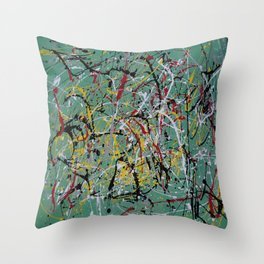Helter Skelter Inspired by Jackson Pollack Throw Pillow