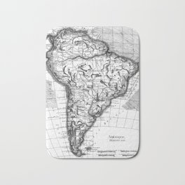 Vintage Map of South America (1780) BW Bath Mat