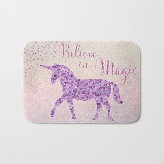 Pink and Purple Glamour Unicorn Believe in Magic #unicorn Bath Mat