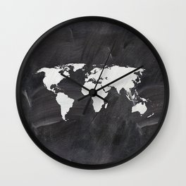 Chalkboard world map Wall Clock