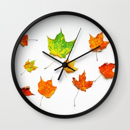 Autumn Leaves on White in Red Orange Yellow and Green Wall Clock