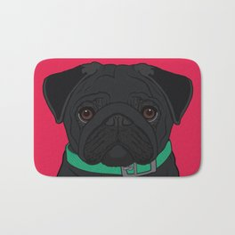 Black Pug Art Poster Dog Icon Series by Artist A.Ramos. Designed in Bold Colors Bath Mat