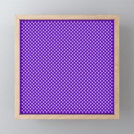 Tiny Paw Prints Pattern Deep Purple and White Framed Mini Art Print