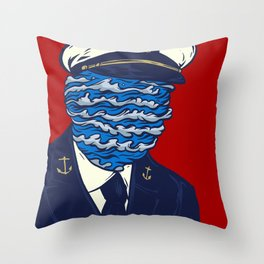 Captain of the Salty Waves Throw Pillow