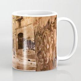 Narrow road at night with graffiti Coffee Mug