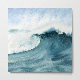 Wave Watercolor Study Metal Print