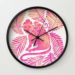 Monkey Cuddles – Pink Palette Wall Clock