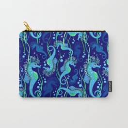 Seahorse cute blue sea animal Carry-All Pouch