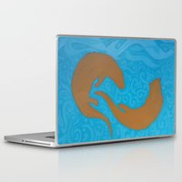 otters Laptop & iPad Skins featuring Two Otters by LegendOfZeldy