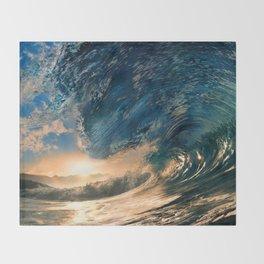 Beach - Waves - Ocean - Sun - Clouds - Blues - Sundown Throw Blanket