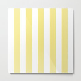 Flavescent yellow - solid color - white vertical lines pattern Metal Print