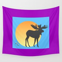duck Wall Tapestries featuring Duck Duck Moose by Geni