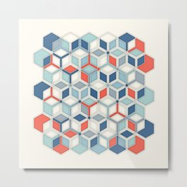 Soft Red, White & Blue Hexagon Pattern Play Metal Print