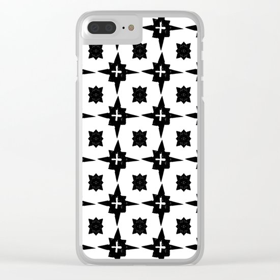 Linocut scandinavian minimal printmaking pattern blockprint black and white Clear iPhone Case