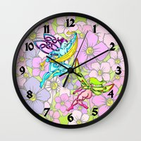 pixies Wall Clocks featuring Pixies by Knot Your World