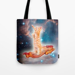 Bacon Surfing Cat in the Universe Tote Bag