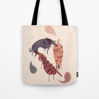 dogs Tote Bags featuring Dogs by Roman Muradov
