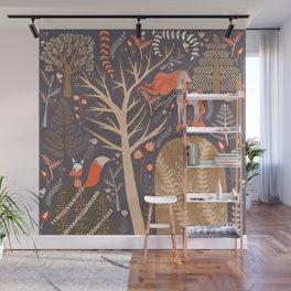 Whimsical Woodland Aesthetic Scene, Fox and Unicorn Wall Mural