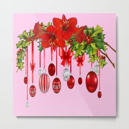 RED AMARYLLIS FLOWERS & HOLIDAY ORNAMENTS FLORAL Metal Print