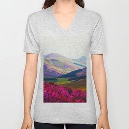 Beautiful Candy Land Fairytale Fantasy Landscape Purple pink Flowers Rolling Hills Moutains Unisex V-Neck