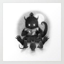 Story Time (black and white option) Art Print