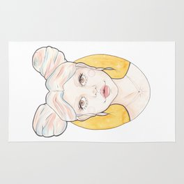 Clio, a Girl with Pink and Blue Streaked Blonde Hair Watercolor Illustration Rug