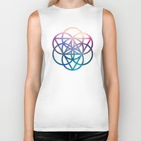 sacred geometry Biker Tanks featuring Sacred Geometry Universe by Nick Kask Design Co