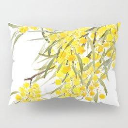Godlen wattle flower watercolor Pillow Sham