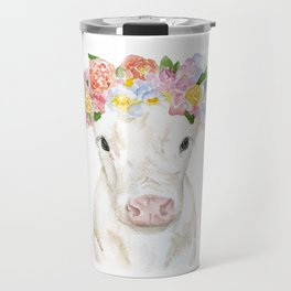 White Calf with Floral Crown Travel Mug