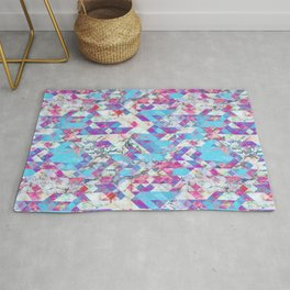 Blue magenta marble grungy triangles Rug