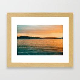 Sunset By Boat Framed Art Print